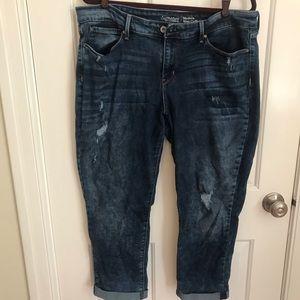 Levi crop distressed jeans